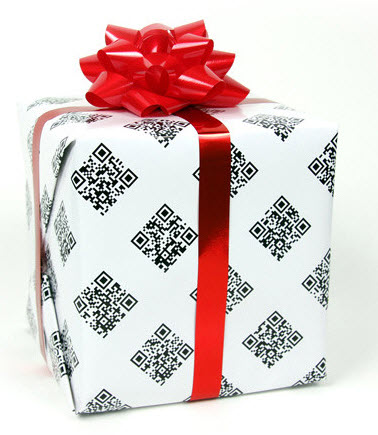 Gift wrapped in QR code paper.