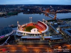 Monday, April 6, 2015 It's Opening Day for the Cincinnati Reds. They open the season against the Pittsburg Pirates The Great American Ballpark in downtown Cincinnati. The photo is shot from the Great American Tower at Queen City Square.  The Enquirer/ Liz Dufour